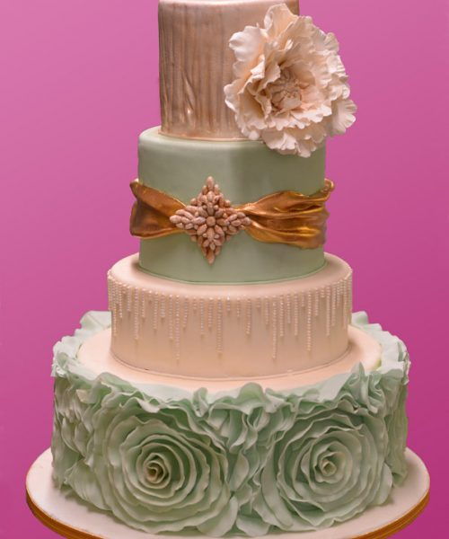 Ruffle and Bling Wedding Cake