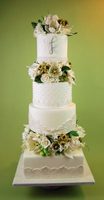 Embroidery and sugar paste flower wedding cake