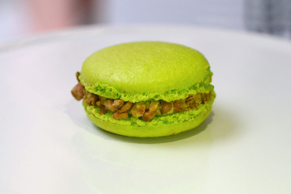 Huascar and Company Bakeshop Pistachio-Raspberry French Macaron