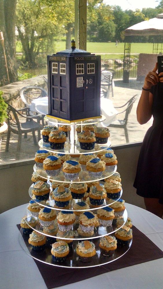 TARDIS Cake and Cupcake Tower