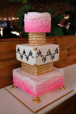White, Pink & Gold Ombré Ruffle Wedding Cake