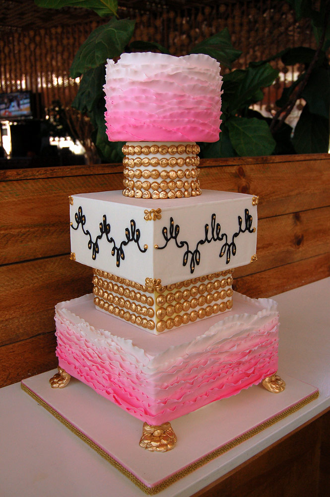 White Pink Gold Ombre Wedding Cake Huascar Co Bakeshop