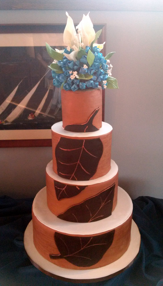 Copper Wedding Cake with Chocolate Leaves