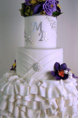 Fondant Ruffle and Bling Wedding Cake with Handmade Flowers