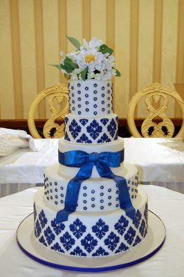White and Blue Damask Wedding Cake with Hand Made Sugar Paste Flowers