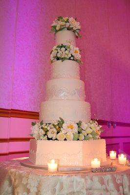 Fondant Embroidery Wedding Cake with Handmade Sugar Paste Flowers