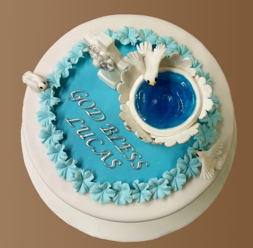 Huascar and Company Bakeshop Baptism Cake with Handmade Fondant and Sugar Paste Decorations