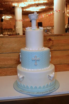 Huascar and Company Baptism cake with Sugar Paste Baptismal Font, Doves and Angels