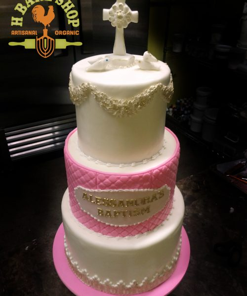 Huascar and Company Bakeshop Pink and White Baptism Cake in fondant with handmade sugar paste decorations