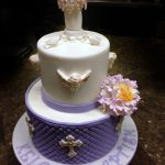 Huascar and Company Bakeshop Baptism Cake with Handmade Sugar Paste Baptismal Font and Decorations