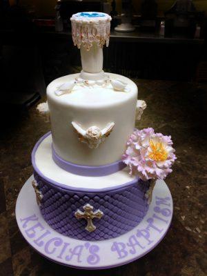 Huascar and Company Bakeshop Baptism Cake with Handmade Sugar Paste Baptismal Font and Decorations