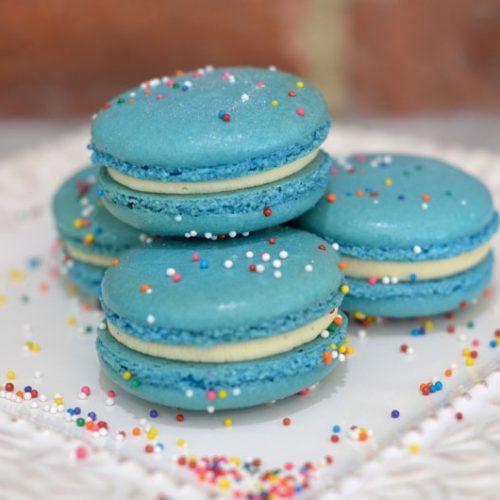 Huascar and Company Bakeshop Gluten-Free Vanilla Blue Velvet French Macaron