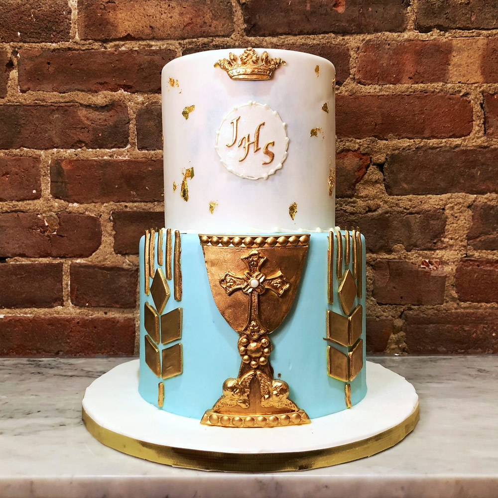 Huascar and Company Bakeshop Roggie Communion Cake with Gold Chalice and Host