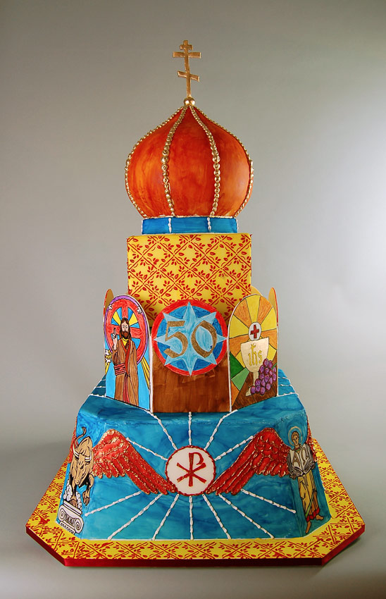 Huascar & Company Bakeshop Handpainted Priest Retirement Cake