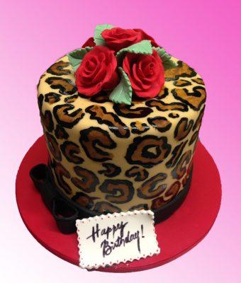 Huascar & Company Bakeshop Leopard Spot & Roses Cake