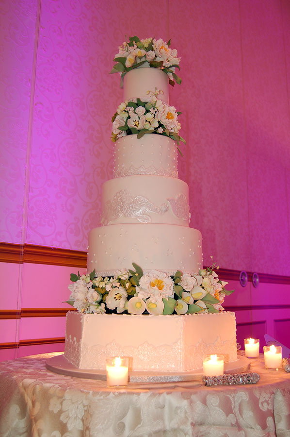 Huascar & Company Bakeshop Ivory Wedding Cake with Sugar Flowers