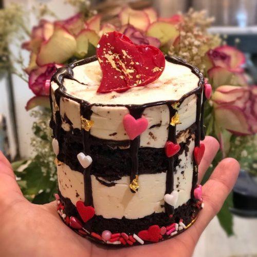 Huascar and Company Bakeshop Valentine's Day Chocolate and Vanilla Buttercream Mini-Cake