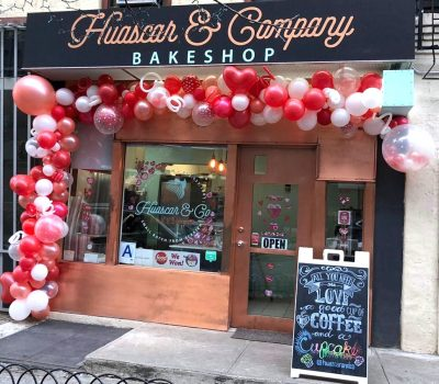 Huascar and Company Bakeshop Storefront with Valentine's Day Balloons