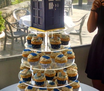 TARDIS Cake and Cupcake Tower
