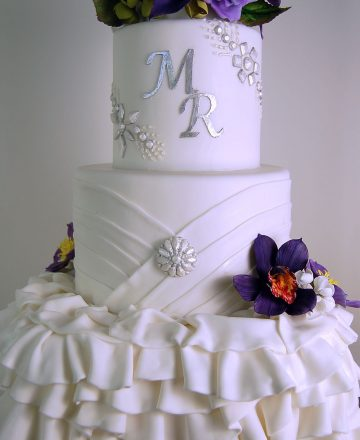 Fondant Ruffle and Bling Wedding Cake with Handmade Flowers