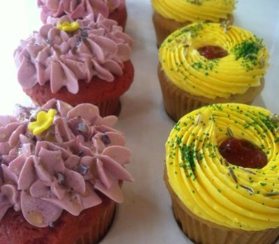 Spring Violet and Barberry Cupcakes